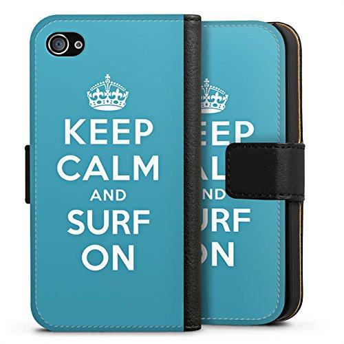 Apple iPhone X Silikon Hülle Case Schutzhülle Keep Calm surfen Urlaub Sideflip Tasche schwarz