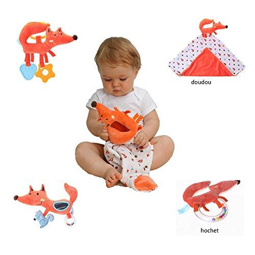 Labebe Inspire Baby's Senses Spielzeug Geschenkset, 4 Stück, Rassel / Teether / Spirale / Sicherheit Decke, Autositz / Kinderwagen & Kinderbett Zubehör, Aktivität Senter Spielzeug, Innen-und Außenbereich - Orange Fox 4-in-1