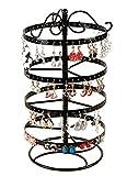 Suravo 4étages 88paires amovible support organiseur de bijoux Boucles d'oreille et collier rotatif support de présentation, noir, 15Wx30L