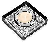 Edler Teelichthalter Lotus 1 mit SWAROVSKI ELEMENTS Kristallen / Funkelnde Tischdeko / Moderne Dekoration (1 Stück, Schwarz)