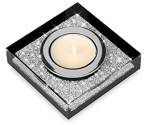 Edler Teelichthalter Lotus 1 mit SWAROVSKI ELEMENTS Kristallen - funkelnde Tischdeko (schwarz)