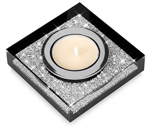 Elegante portacandele Lotus 1 con cristalli SWAROVSKI ELEMENTS - una luminosa decorazione da tavolo (nero)