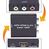 Neon 1080p HDMI to AV Composite Video, Audio Converter Metal Box Adapter with USB Power Cable for Amzon Fire TV Stick, Any Cast Dongle, Chrome Cast Dongle, PC, Laptop, Play Station, Xbox