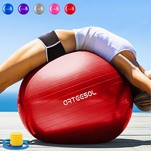 Arteesol Gymnastikball, 65 cm/75 cm, Anti-Burst, Rutschfest, Yoga, Swiss Ball, Geburtsball, Schnelle Pumpe, Fitness, Yoga, Pilates, Core Training, Physiotherapie, rot, 75 cm