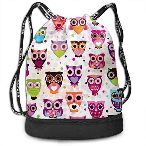 Rucksäcke,Sporttaschen,Turnbeutel,Daypacks, Drawstring Backpack Bundle Gym Bike Duffel Bag Knapsack Fashion Waterproof Sport Bag for Men Woman School Travel Owl Collection Print Pack -