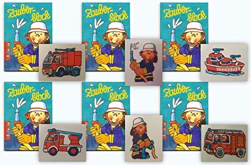 KSS 6 X Zauberblock und 6 X Tattoos im Feuerwehr Design für Kindergeburtstag als Mitgebsel , Mitbringsel , Party , Tombola , Verlosung -