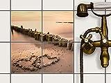 creatisto Fliesenfolie selbstklebend 15x15 cm 2x2 Design Beach Romance (Natur) Klebefolie Küche Bad