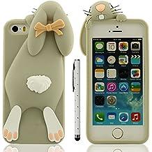 Funda Protectora iPhone SE 5C Anti golpes, Carcasa para Apple iPhone 5 5S Gris, Muy 3D Animal Estilo Linda Conejo Apariencia Suave Silicona Gel Ajuste Perfect + 1 Lápiz óptico