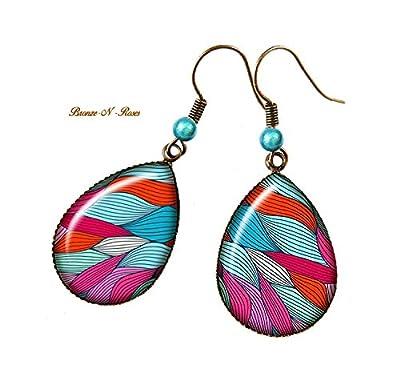 Boucles d'oreilles gouttes vagues multicolores cabochon bronze pendant