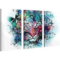 Impression Giclée sur Toile en Grand Format – Tiger Artwork – 120x80cm – Photo sur Toile de Tendue sur Châssis en Bois – Tableau Artistique Contemporain – Image Déco d'art Murale Prêt à Accrocher