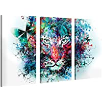 Impression Giclée sur Toile en Grand Format – Tiger Artwork – 120x80cm – Photo sur Toile de Tendue sur Châssis en Bois – Tableau Artistique Contemporain – Image Déco d'art Murale Prêt à Accrocher