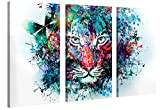 Impression Giclée sur Toile en Grand Format - Tiger Artwork - 120x80cm - Photo sur Toile de Tendue sur Châssis en Bois - Tableau Artistique Contemporain - Image Déco d'art Murale Prêt à Accrocher...