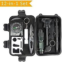 Kit di Sopravvivenza Multiuso con 10 Accessori Inclusi sopravvivenza bracciali,Survival Card,Tactical Pen,TORCIA LED,Selce