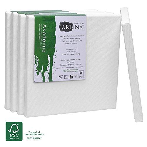 Artina Akademie FSC Keilrahmen Set 5er - 20 x 20 cm Quadratisch klein - 100% Baumwolle Leinwand Keilrahmen weiß - 280g/m²