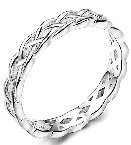 BE STEEL 4MM 925 Sterling Silber Knoten Ring für Damen Mädchen Ringe Hochzeit Band Keltisch Ring Ewigkeit 60
