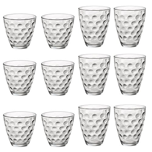 Bormioli Rocco Dots Dimpled Klarglas Trinken Tumblers & Double Old Fashioned Tumblers - Satz von 12 - 12 Double Old Fashioned Gläser