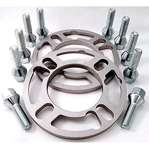 Coppia di 5mm distanziali ruote + set di 10esteso lega bulloni per ruote, lunghezza: 32mm, filettatura M12x 1,5, seduta, 17mm esagonale per BMW Serie 3