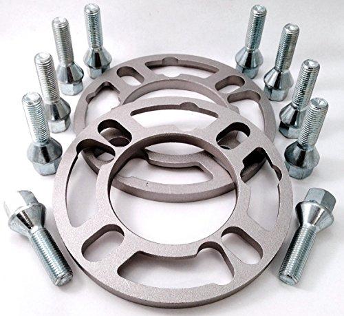 Coppia di 10mm distanziali ruote + set di 10Extended bulloni ruota in lega, filettatura M12x 1,5, lunghezza 35mm, seduta, 17mm esagonale per BMW Serie 3