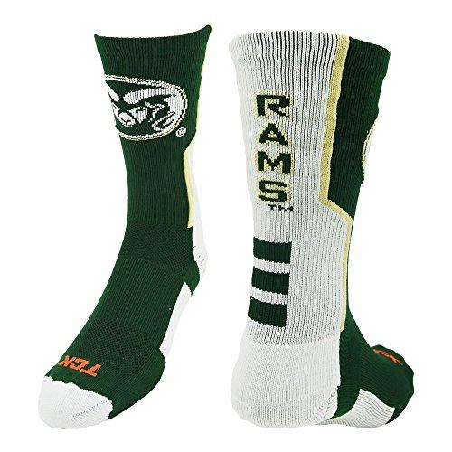 TCK CSU Rams Perimeter Crew Socken, Jungen damen Mädchen Herren, Dark Green/White/Vegas Gold -