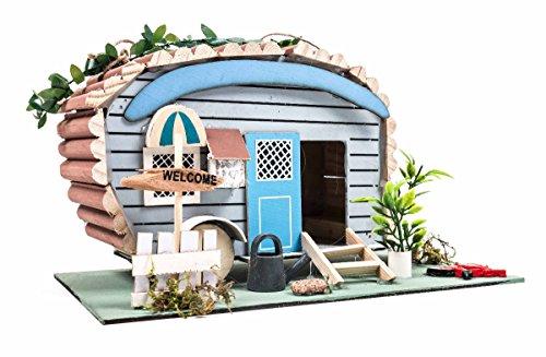Vogelhaus / Nistkasten auf Holzplatte, Anflugloch, Aufhänger, Shabby-Design, üppig dekoriert, 4 Varianten (Welcome)