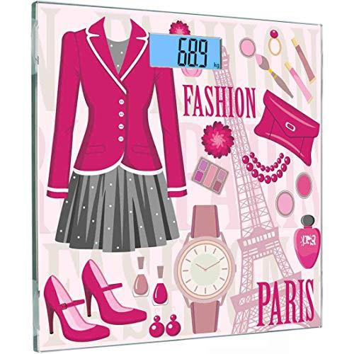 Ultra Slim Hochpräzise Sensoren Digitale Körperwaage Mode Gehärtetes Glas Personenwaage, Modethema in Paris mit Outfits Kleiden Uhr Geldbörse Parfüm Parisienne Landmark, Beige Pink (Paris Fashion Parfüm)