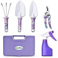 WOLFWILL 5 Stück Gartengeräte Set Leicht Gartenwerkzeug set mit Anti-Rost-Schaufel Schere Harke Water Spray und Tasche