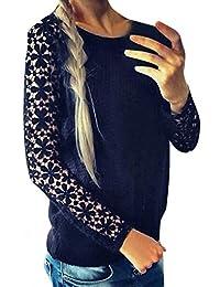 ZANZEA Women's Casual Lace Crochet Long Sleeve Round Neck Jumper Pullover Blouse Tops