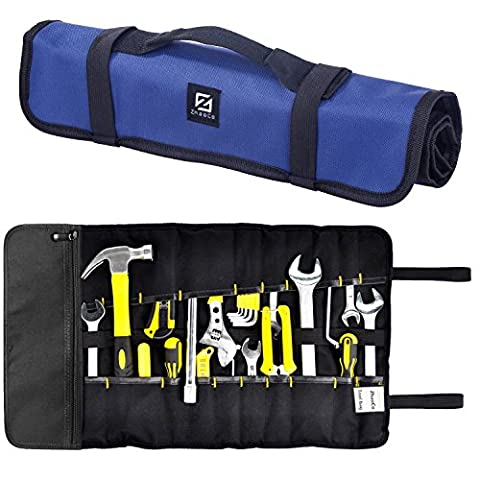 ZhaoCo Tool Roll Pouch, Tool Roll Bag 29 Pockets Socket - Wrench Roll Up Tool Bag Kit, Rolling Organizer, Tool Storage Tote for Garden Tools, Electricians and Mechanics - Blue