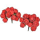 Majik Beautiful Flowers Hair Accessories (SET OF 24 FLOWERS) (Red)