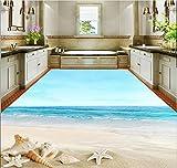 Weaeo 3D-Stock Malerei Wallpaper Starfish Beach 3D Boden Wasserdicht Wallpaper Für Badezimmer Wand 3D-Bodenbeläge