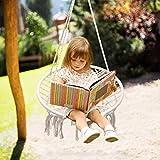 Kinder Hängesessel, Klein Hängestuhl Hängematte Hängesitz Nestschaukel Garten-Schaukel Tellerschaukel Beige Schaukel für Kinder Drinnen Draußen Kinderzimmer(Belastbarkeit bis 100 kg inkel.)