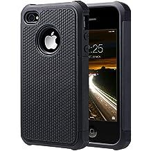 ULAK iPhone 4 case / iPhone 4S Carcasa Funda Cases caso Anti Golpes Hñbrida de Silicona Protectora para Apple iPhone 4 4s (Negro)