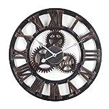 Vevendo Wanduhr - 3D Wheel - Holz Küchenuhr mit Großem Ziffernblatt aus MDF, Retro Uhr im Angesagtem Retro Design mit leisem Quarz-Uhrwerk, Ø: 45 cm