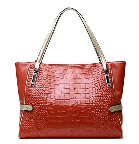 Xinmaoyuan borse Donna Autunno e Inverno borsette in cuoio Ladies Borsa a tracolla modello coccodrillo Vacchetta Borsette mummia semplice sacchetto,arancione Arancione