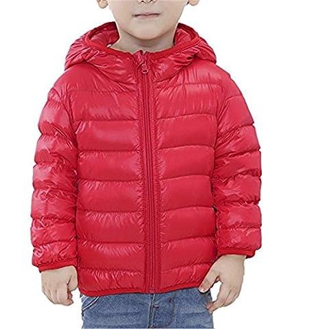 Tailloday Kinder Unisex Kids Daunenjacke Steppjacke mit Kapuze Jacket Übergangsjacke Herbst Winter (EU 146/152 (Etikett 150), Rot)