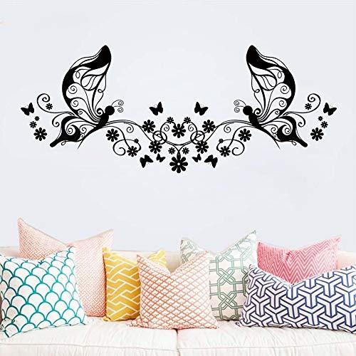 ljmljm Tipografia Nera 42x83cm Pansy Vine Intagliato Rimovibile Home Art Divano Decorazione della Parete Adesivi murali Possono Essere Personalizzat