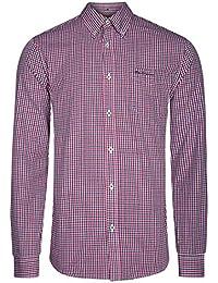 7f1514cd14 Ben Sherman Mens Casual Long Sleeved Gingham Checkered Red Shirt