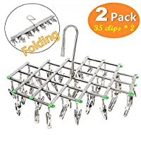 UltraGood 2 Pack Stainless Steel Drying Rack with 35 Clips, Space Saver Drip Hanger, Drying Pegs Hook for Laundry, Clothes, Socks, Underwear etc