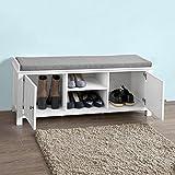 SoBuy® Sitzbank, Bettbank, Schuhschrank, Garderobenbank mit Sitzkissen, MDF, weiß, FSR35-W Vergleich