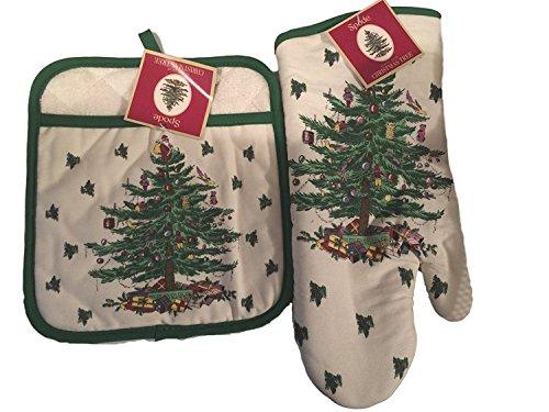 Spode Christmas Tree 2-Küche Geschenk-Set inkl. Ofen Handschuhe und Blumentopf, quadratisch, Bundle 2 Spode Christmas Tree