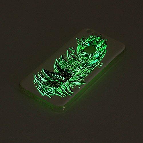 Coque pour Google Pixel, Etui pour Google Pixel, Coque Lumineux pour Google Pixel, Cozy Hut Ultra Mince Souple TPU Silicone Etui Housse de Protection Nuit Luminous Glow Series Transparente Silicone Ca Plumes vertes