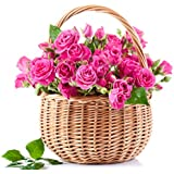 Golden Cart Fresh Flower PREMIUM FLOWER BASKET OF ROSES to Convey that 'special feeling' I Bouquet Basket (21 Fresh Roses, Pink)