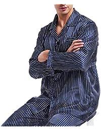 Grandes Regalos_ Conjunto de Pijamas de satén de Seda para Hombres Pijamas Pijamas Ropa de Dormir