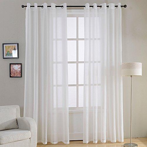 Top Finel 2 Piezas Modernas Visillos para Ventanas Cortinas Dormitorio con Ojales,140 x 160 cm,Blancas