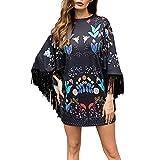 Robe Femme, Koly Mode Femme 2016 1PC Casual Women Robe Noire Manches Longues Glands LâChe Robe Big Size Dentelle (XL-Buste: 106cm)