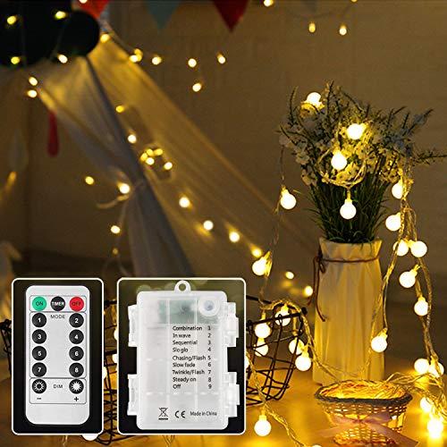 lichterkette mit batterie außen,5m 50 Leds Globe Lichterkette für Party,Geburtstag,Hochzeit,Garten.
