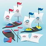 Bastelsets 3D-Piratenschiffe - für Kinder zum Basteln - für Piratenparty und Dekoration (2 Stück)