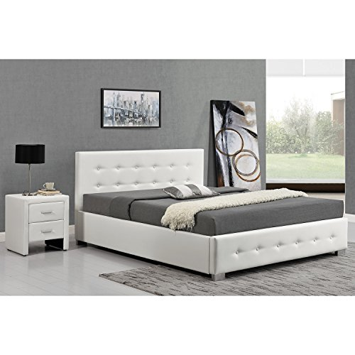L'Azenor: Structure de lit Blanc avec coffre de rangement intégrés -160x200 cm