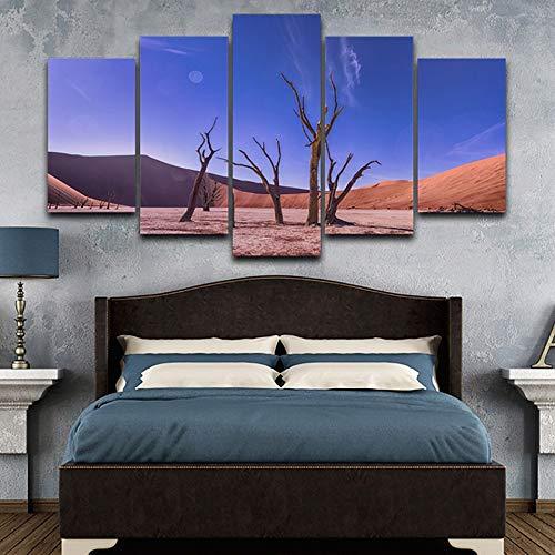 mmwin Dekor Wohnzimmer Modulare HD Gedruckt Bilder 5 Panel Abgestorbene Bäume Wüstenlandschaft d Wandkunst Leinwand Poster Home