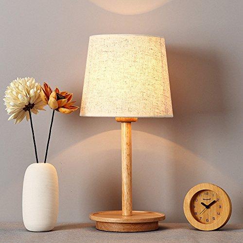LIGUQI@ Hölzerne Lampe Des Nordischen Schlafzimmers Führte Kreatives Holz Warme Dekorative Lampe Massivholzbett Japanische Art Taiwan,Weiß,H42cm